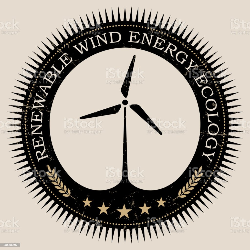 Vector Retro Styled Badge With Wind Turbine Symbol Green Energy Sign