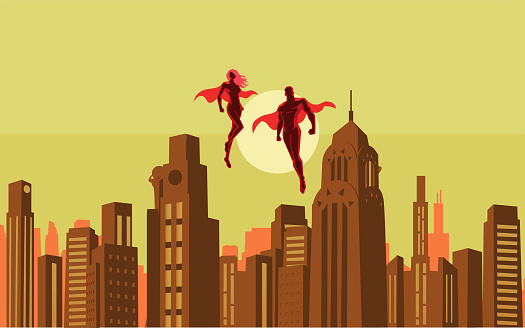 A retro style vector illustration of a couple superheroes floating in the sky with city skyline in the background. Wide space available for your copy.