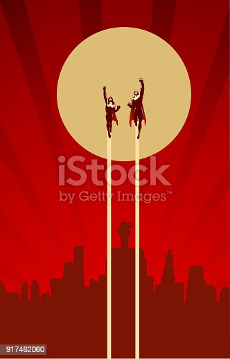 A retro style illustration of a couple of superhero flying above with city skyline in the background. Wide space available for your copy.