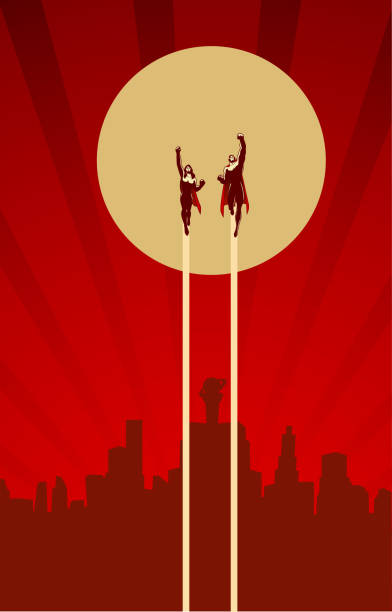 飛行図ベクトル スーパー ヒーローのレトロなカップル - 漫画の風景点のイラスト素材/クリップアート素材/マンガ素材/アイコン素材