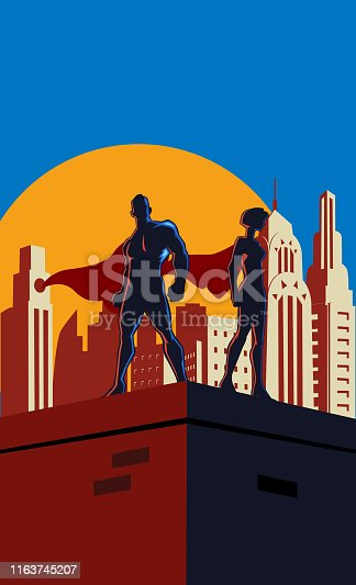 A retro style vector illustration of a couple of superheroes with city skyline in the background.