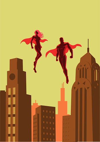A retro style vector illustration of a couple of superhero floating in the air with city buildings in the background.