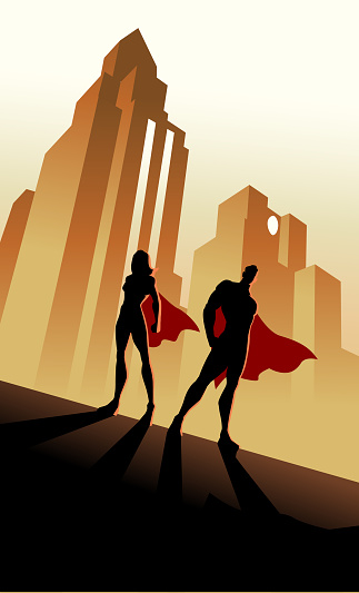 Vector Retro Superhero Couple Silhouette in City Background