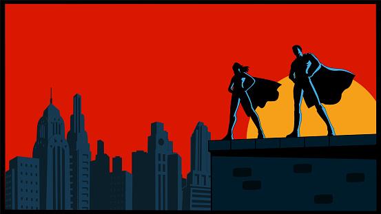 Vector Retro Superhero Couple Silhouette with City Skyline