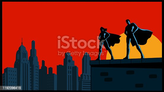 A retro style silhouette vector illustration of a couple of superheroes standing on a rooftop with skyline in the background. Wide space available for your copy.