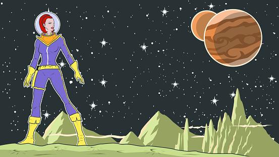 Vector Retro Superhero Female Astronaut in Space Stock illustration
