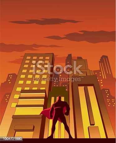 A retro style vector illustration of a superhero standing with skyscapers in the background. Wide space available for your copy.