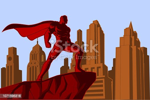 A retro style poster vector illustration of a superhero standing on a cliff with city skyline in the background.