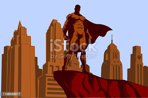 A retro style vector illustration of  a superhero standing on a cliff with city skyline in the background.