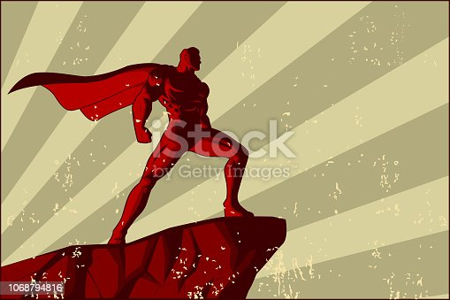 A retro syle vector illustration of a superhero on top of a rock with sunburst effect in the background and grunge effect in the foreground. Put your text on the space available.