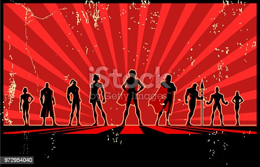 A retro silhouette style illustration of a team of superhero posing with sunburst effect and wide copy space in the background.