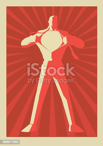 A retro propaganda style illustration of a man in silhouette ripping his shirt and reveals superhero costume inside. Put your logo or text on the chest. Easy to edit.