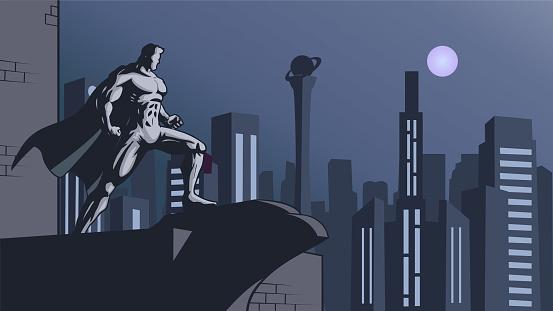 Vector Retro Superhero with Art Deco City Setting Stock illustration