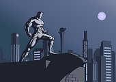 A retro style illustration of a superhero standing on a rooftop with city skyline in the background