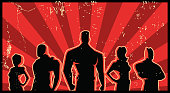 A retro style silhouette illustration of a team of superheroes posing with sunburst effect in the background. Wide space available for your copy.