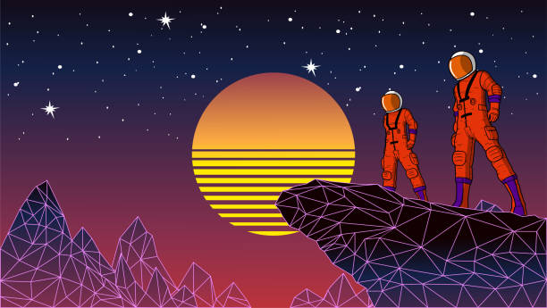 Vektor Retro Synthwave Space Astronaut Stock Illustration – Vektorgrafik