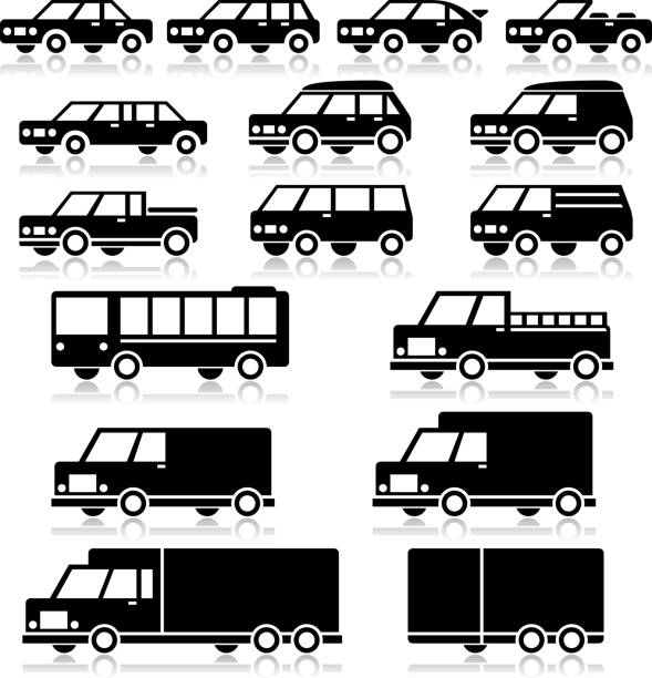 Vector Retro Vehicles Icon Set Vector Retro Vehicles Icon Set personal land vehicle stock illustrations