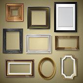 Vector retro vintage art photo picture frames museum exhibition decorative antique decoration wall. Photograph art paper framewooden square blanck realistic 3d