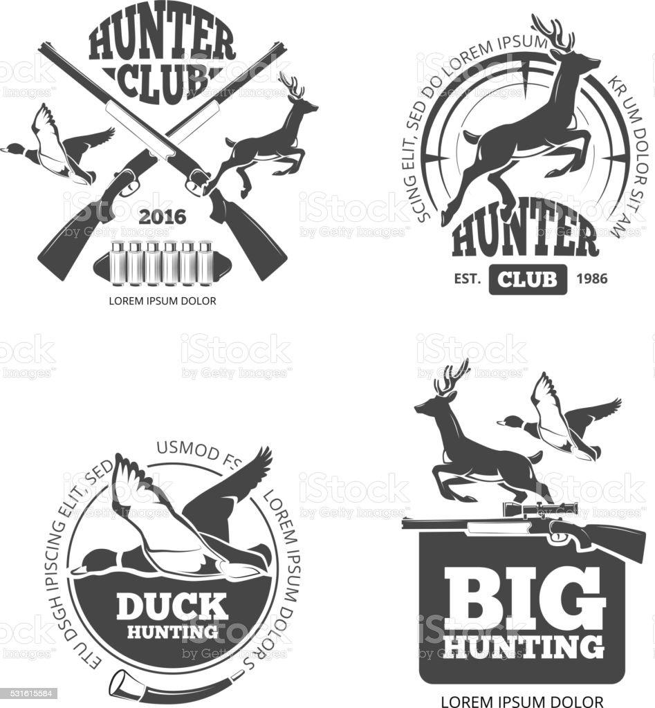 Vector retro vintage hunting labels, emblems and badges set vector art illustration