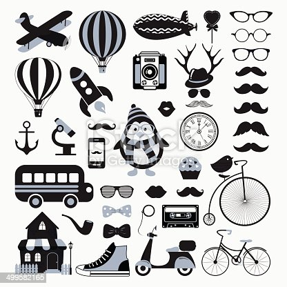 Retro Black and White Icon Set. Hipster Style. Vector Illustration. Vintage Cute  Air Transportation, Bikes, Objects, Mustaches