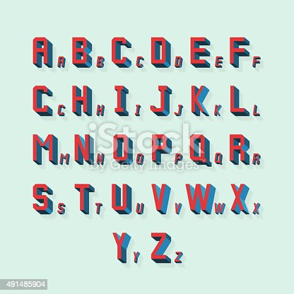 Vector retro volumetric 3d alphabet. Typography alphabet abc, lettering with shadow illustration