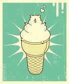 Vector Retro-style illustration of Ice Cream Pig.