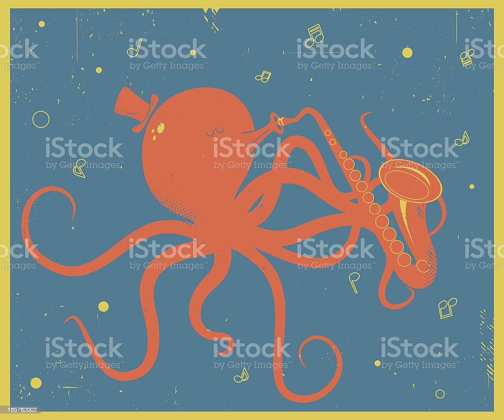Vector Retro-style illustration of Octopus with Saxophon royalty-free stock vector art