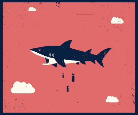 Vector Retro-style illustration of shark bombing