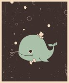 Vector Retro-style illustration of whale