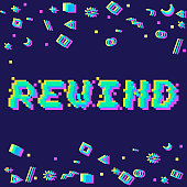 Vector rewind phrase in pixel art 8 bit style with glitch VHS effect. Three color half-shifted letters. Ocassional pixels and goemetric style decor elements. Gaming concept