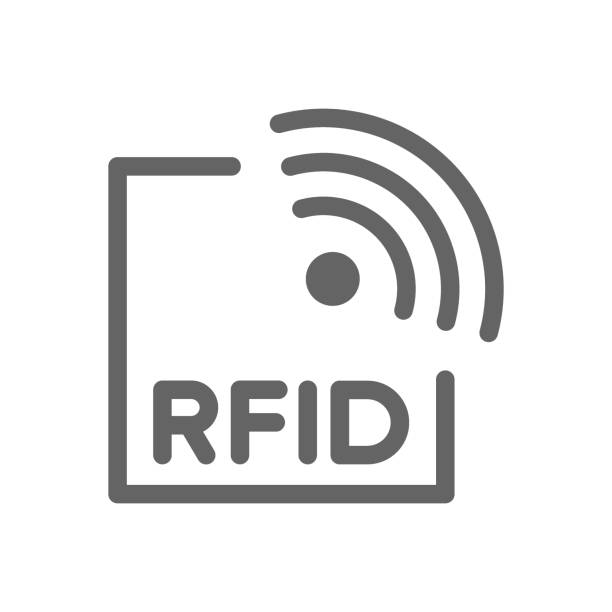 Vector RFID with radio waves line icon. Vector RFID with radio waves line icon. Symbol and sign illustration design. Isolated on white background radio frequency identification stock illustrations