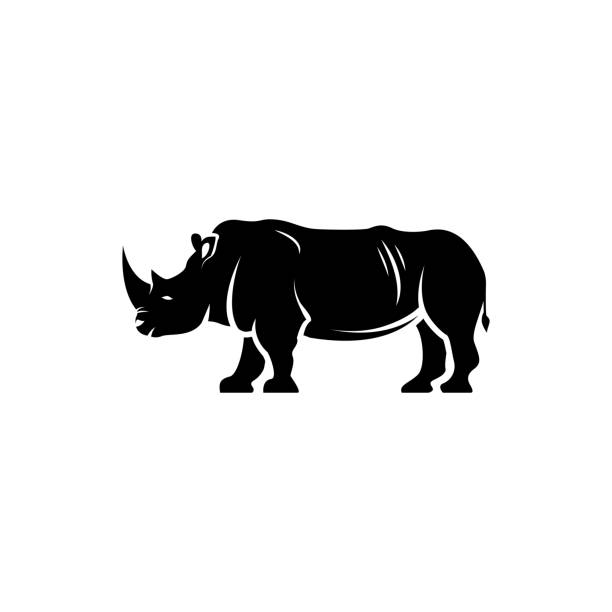 Vector rhino silhouette view side for retro icons, emblems, badges, labels template vintage design element. Isolated on white background Vector rhino silhouette view side for retro icons, emblems, badges, labels template vintage design element. Isolated on white background rhinoceros stock illustrations