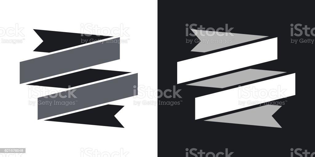 Vector ribbon banner icon. Two-tone version vector ribbon banner icon twotone version – cliparts vectoriels et plus d'images de drapeau libre de droits