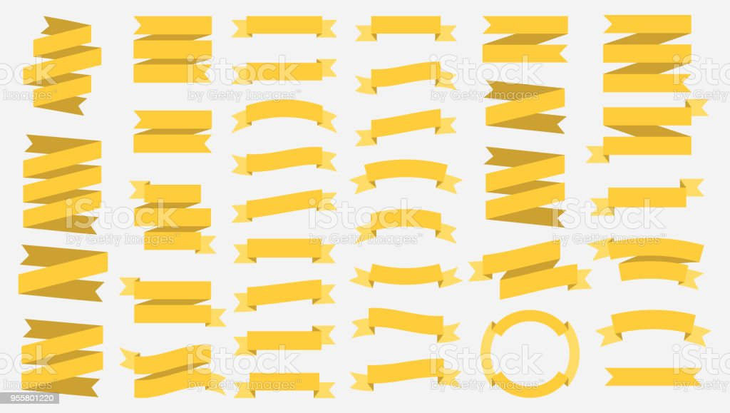 vector ribbon banners isolated on white background yellow tapes set