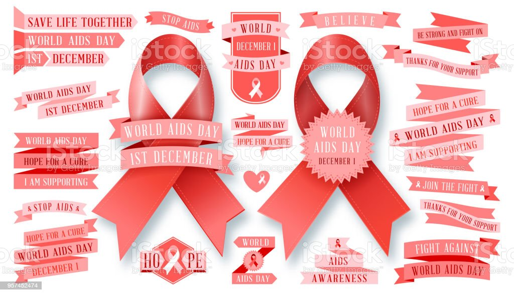AIDS - vector ribbon collection. Vector set. Stop AIDS signs set. AIDS red ribbon. World AIDS day - 1 December. HIV & STI. vector art illustration