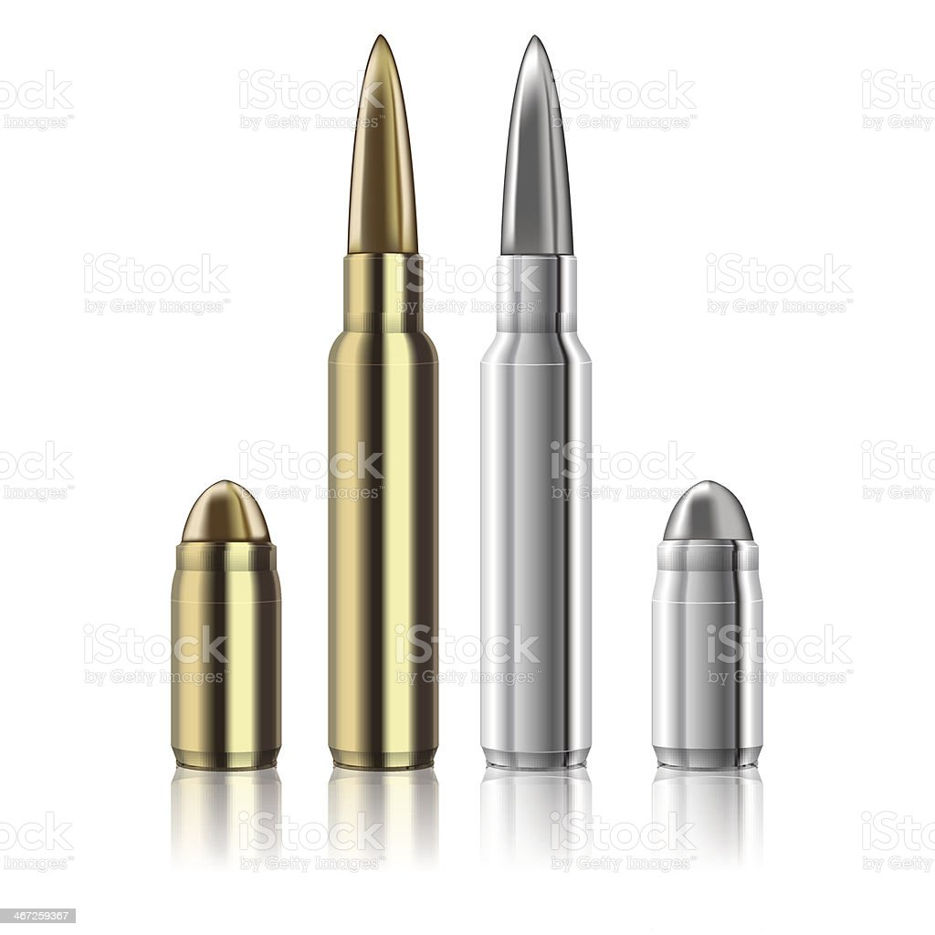 Vector Rifle and pistol bullets isolated on white vector art illustration