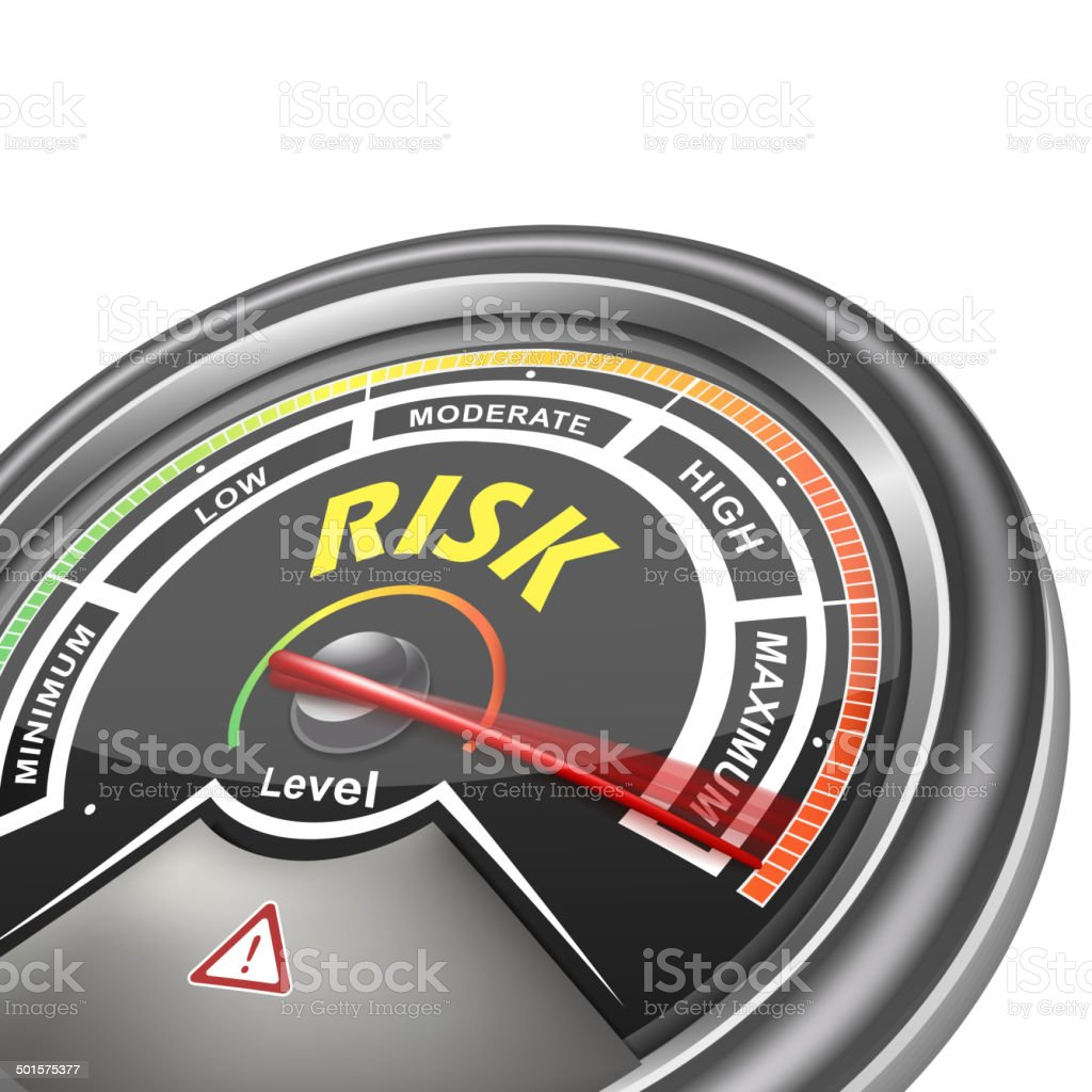 vector risk conceptual meter indicator vector art illustration