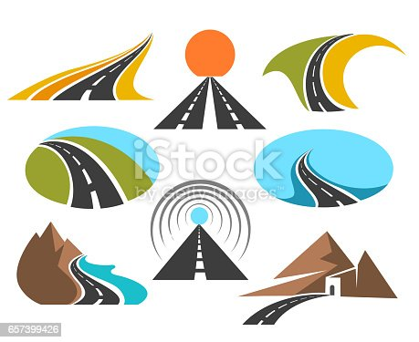 Vector road colored emblems isolated on white background for  design. Transport highway or pathway symbols. Abstract asphalt road illustration