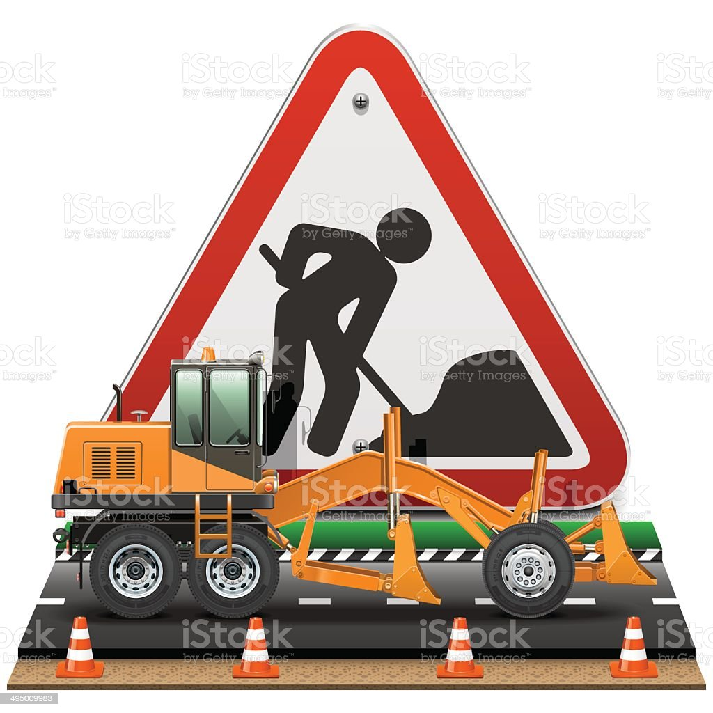 Vector Road Construction Concept with Sign vector art illustration