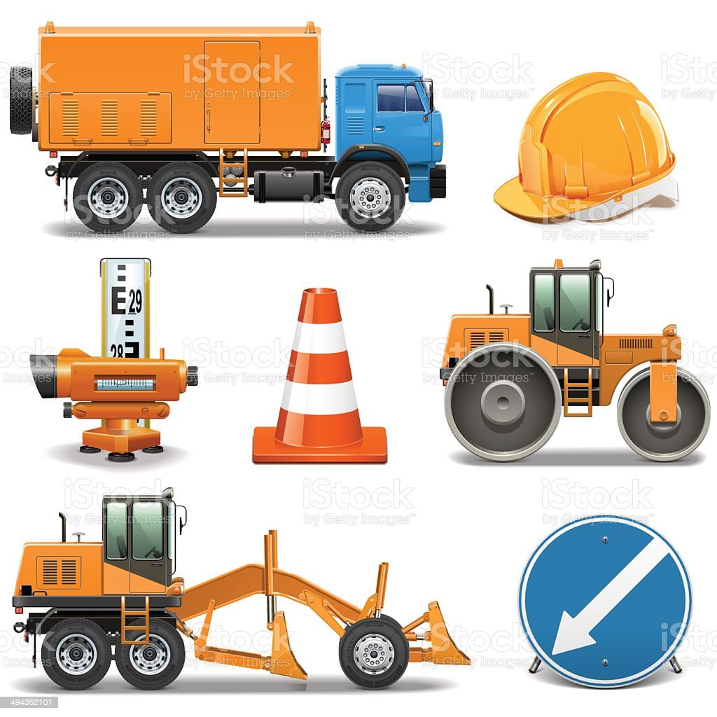 Vector Road Construction Icons vector art illustration