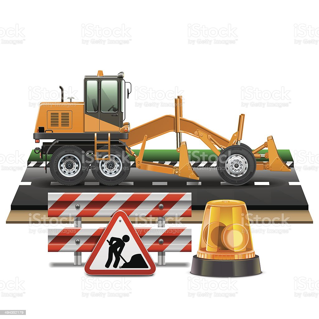 Vector Road Construction with Grader vector art illustration