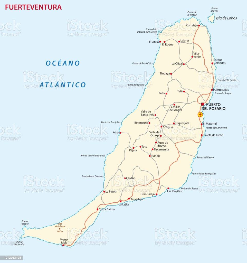 Carte Espagne Fuerteventura.Feuille De Route Du Vecteur De La Carte De Lile Des Canaries