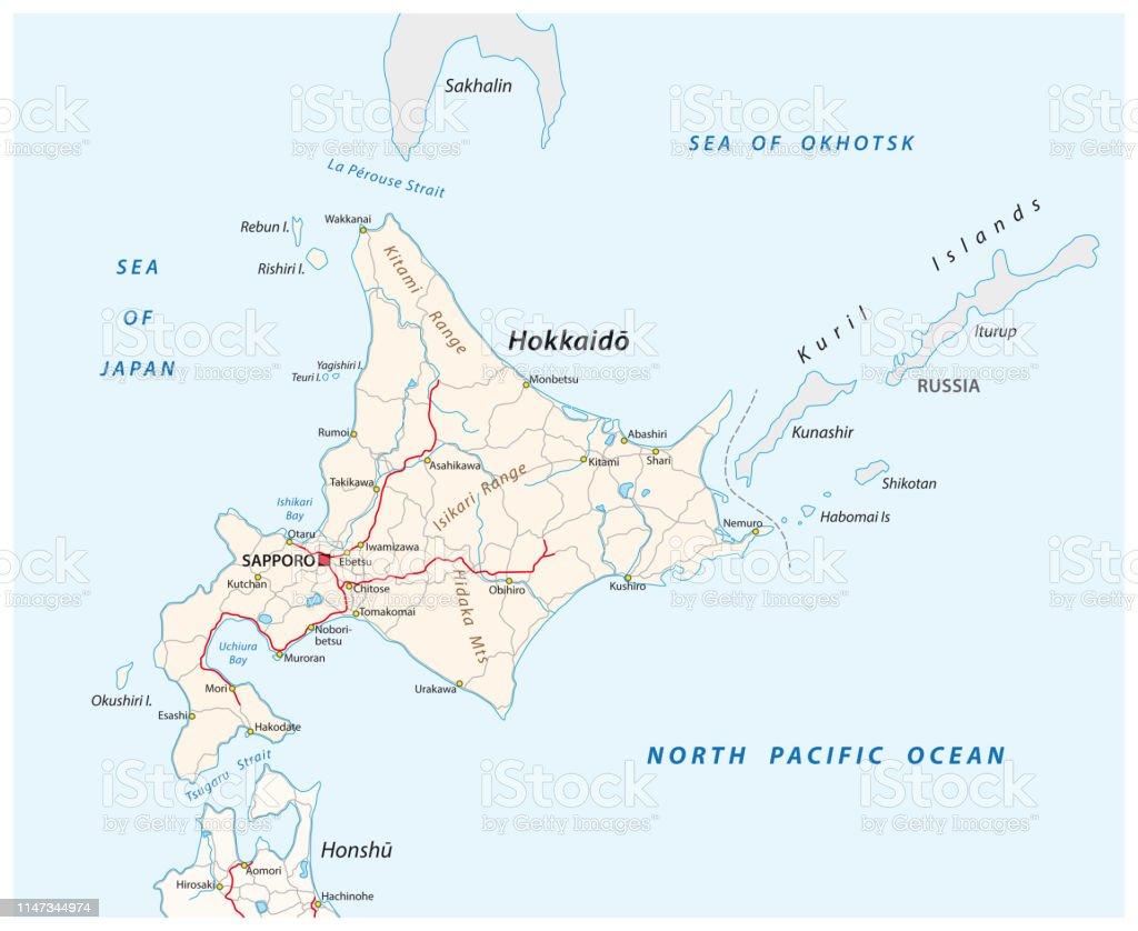 Vector Road Map Of Japanese Island Hokkaido Stock ...