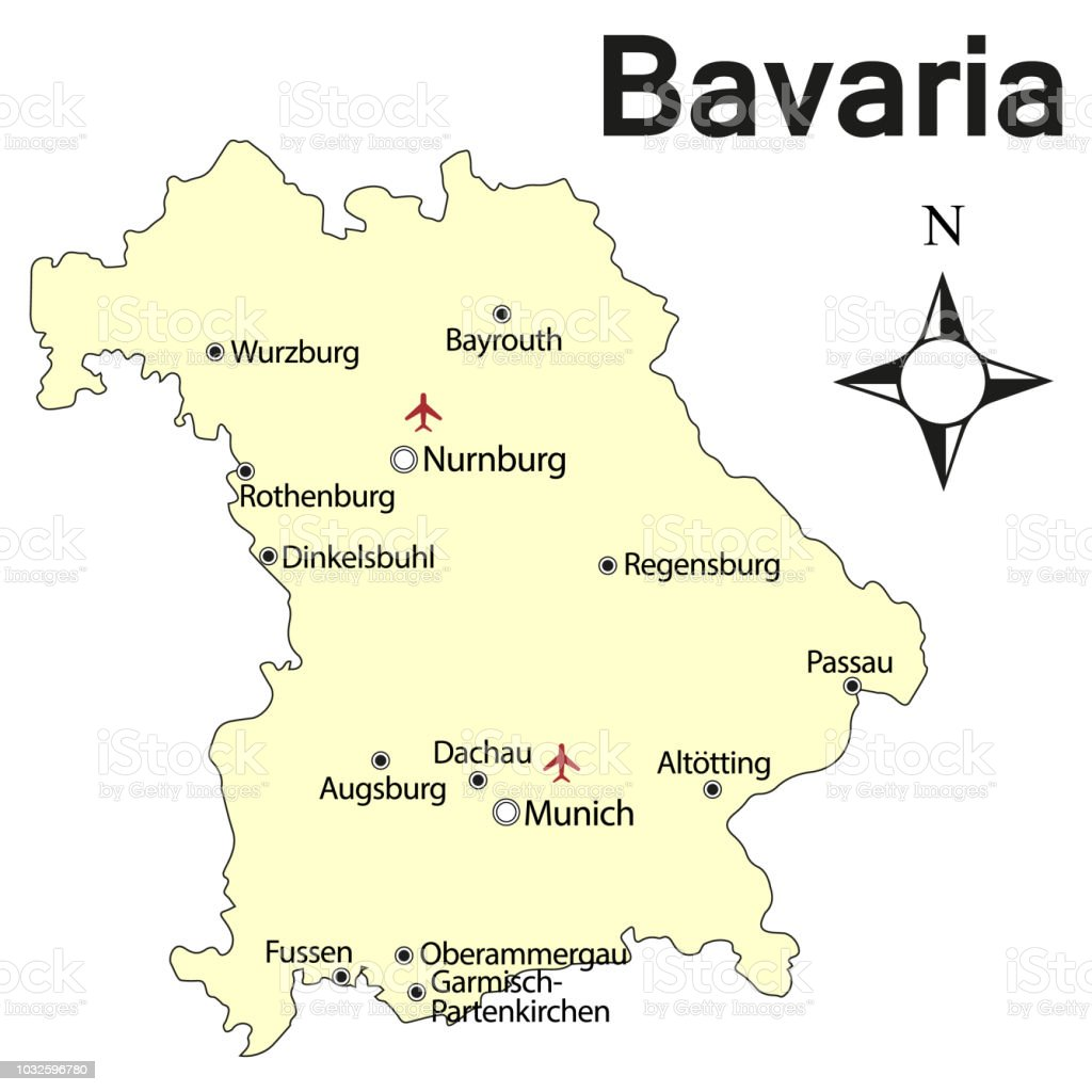 Map Of Germany Bavaria.Vector Road Map Of The German Federal Country Bavaria Stock Vector