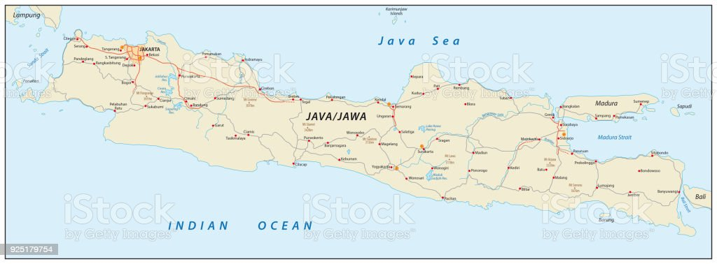 Vector Road Map Of The Indonesian Island Java Stock Vector Art