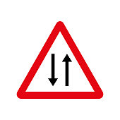 Vector road sign two way traffic