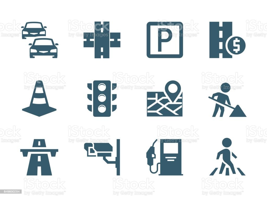 Vector road traffic related icon set vector art illustration