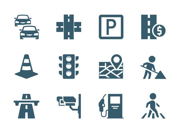 vector road traffic related icon set - traffic stock illustrations