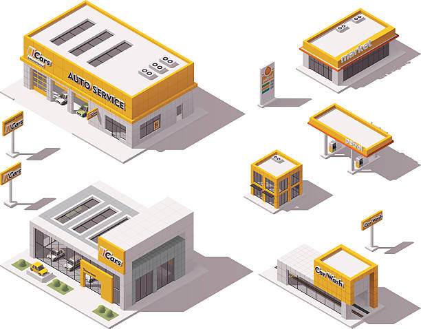 Vector road transport related buildings Set of the isometric road transport related buildings showroom stock illustrations