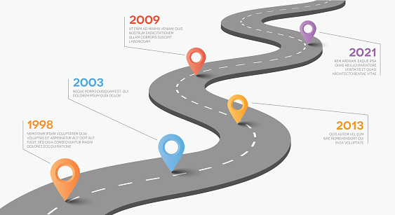 Vector road with pointers. Timeline concept.